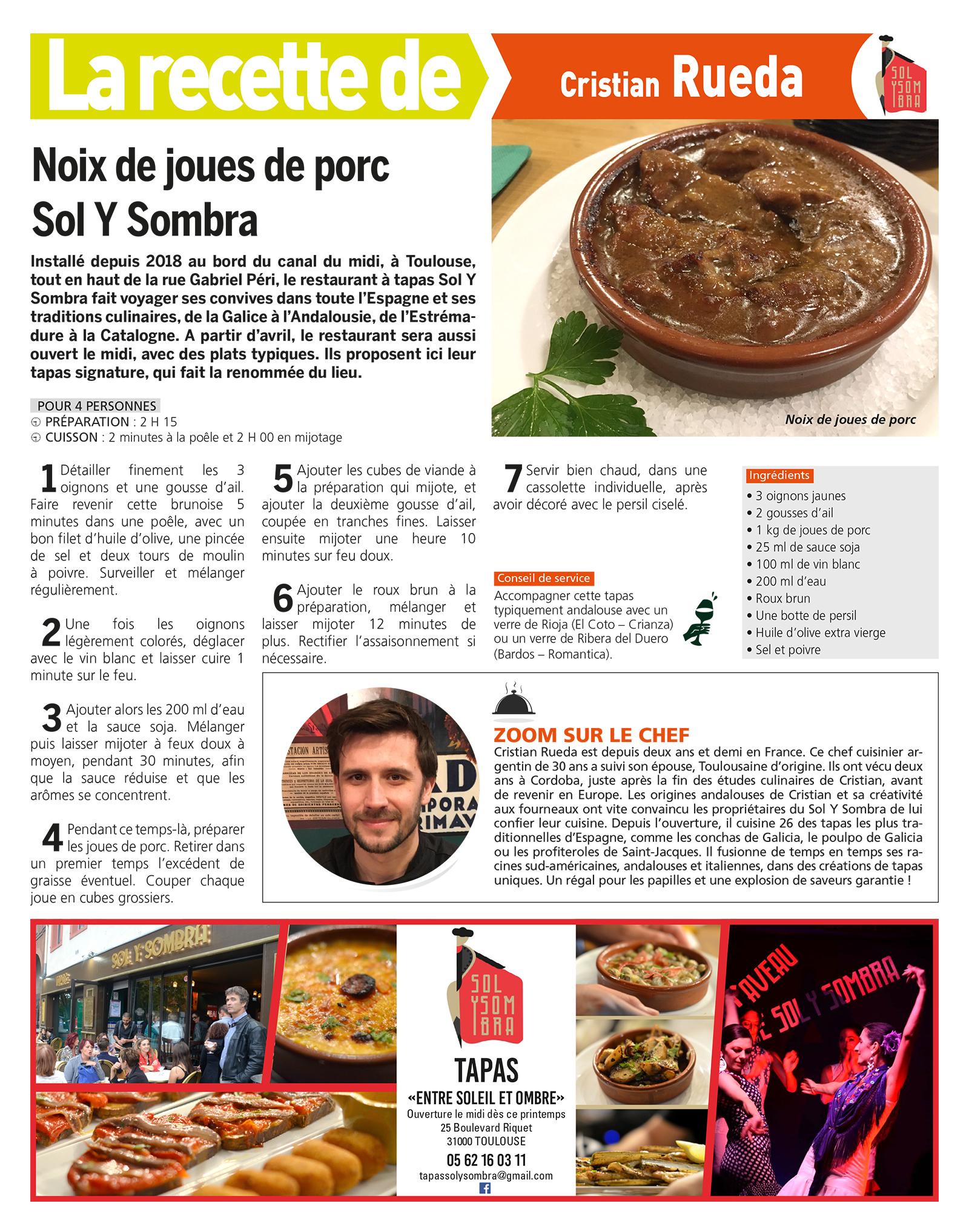 La recette de Cristian Rueda